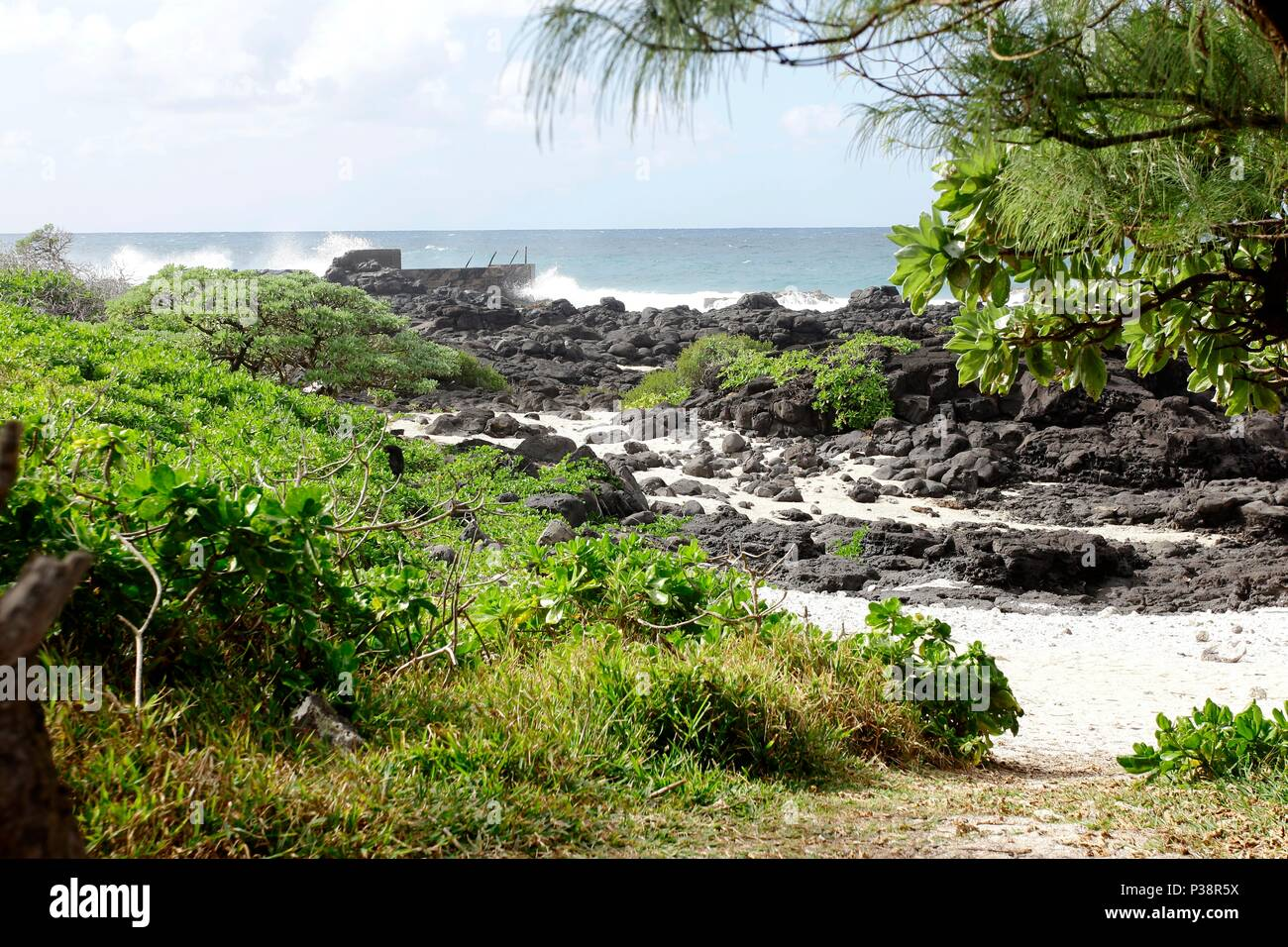 La Cambuse Beach is located near the village of Mon Desert, in the southeast part of Mauritius. This is one of the many beaches of Mauritius situated Stock Photo