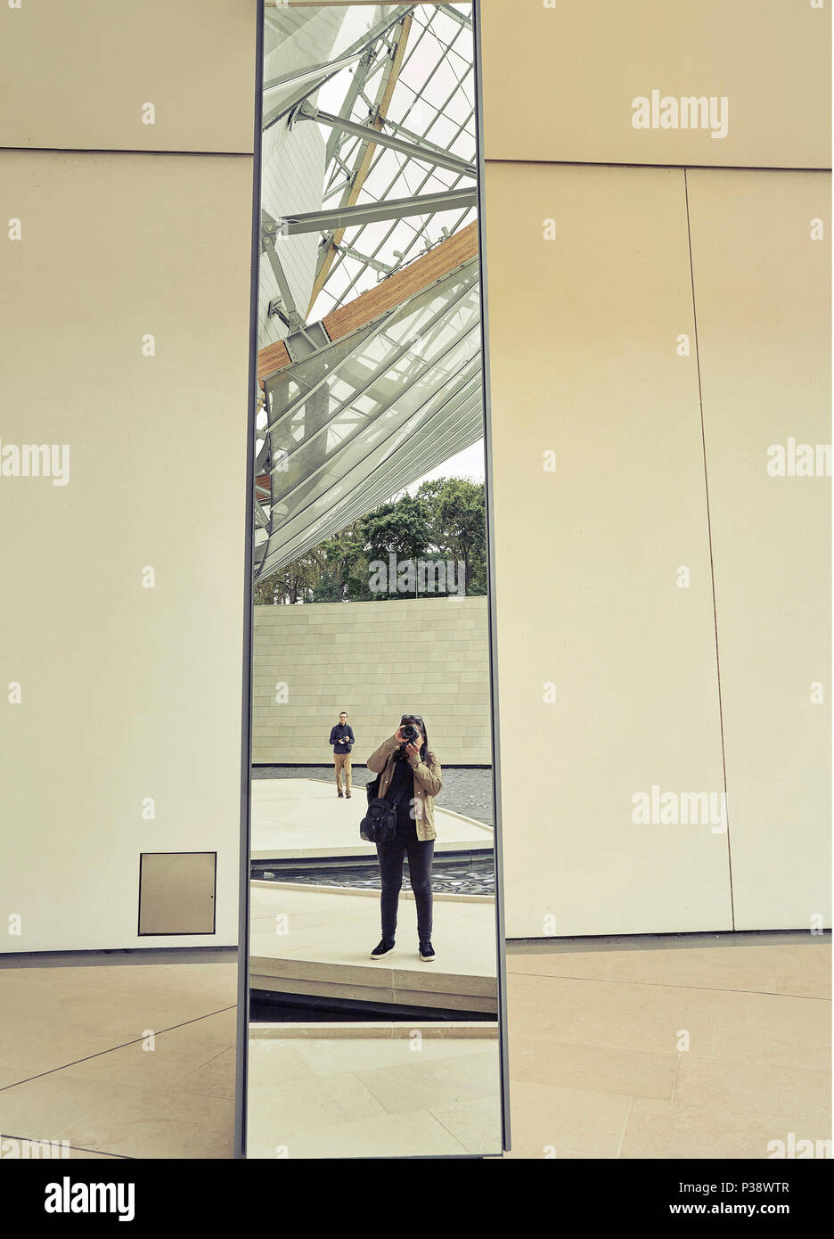 Self portrait at Louis Vuitton foundation - Stock Image