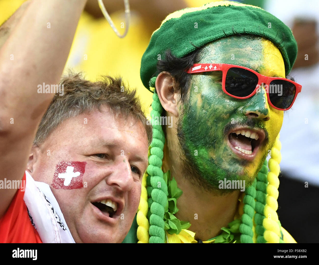 Rostov, Russia, 17th June, 2018. Fans cheer prior to a group E match between Brazil and Switzerland at the 2018 FIFA World Cup in Rostov-on-Don, Russia, June 17, 2018. Credit: Chen Yichen/Xinhua/Alamy Live News Stock Photo