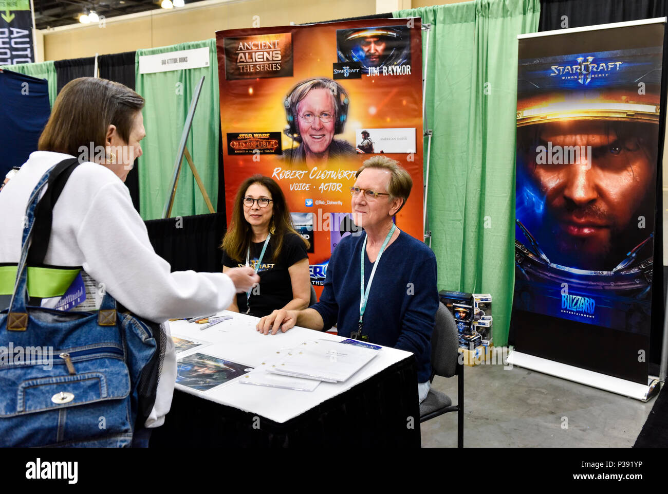 Pasadena, California, June 16, 2018, Robert Clotworthy, the narrator of Anchient Aliens at Alien Con day 2. Credit: Ken Howard Images/Alamy Live News - Stock Image