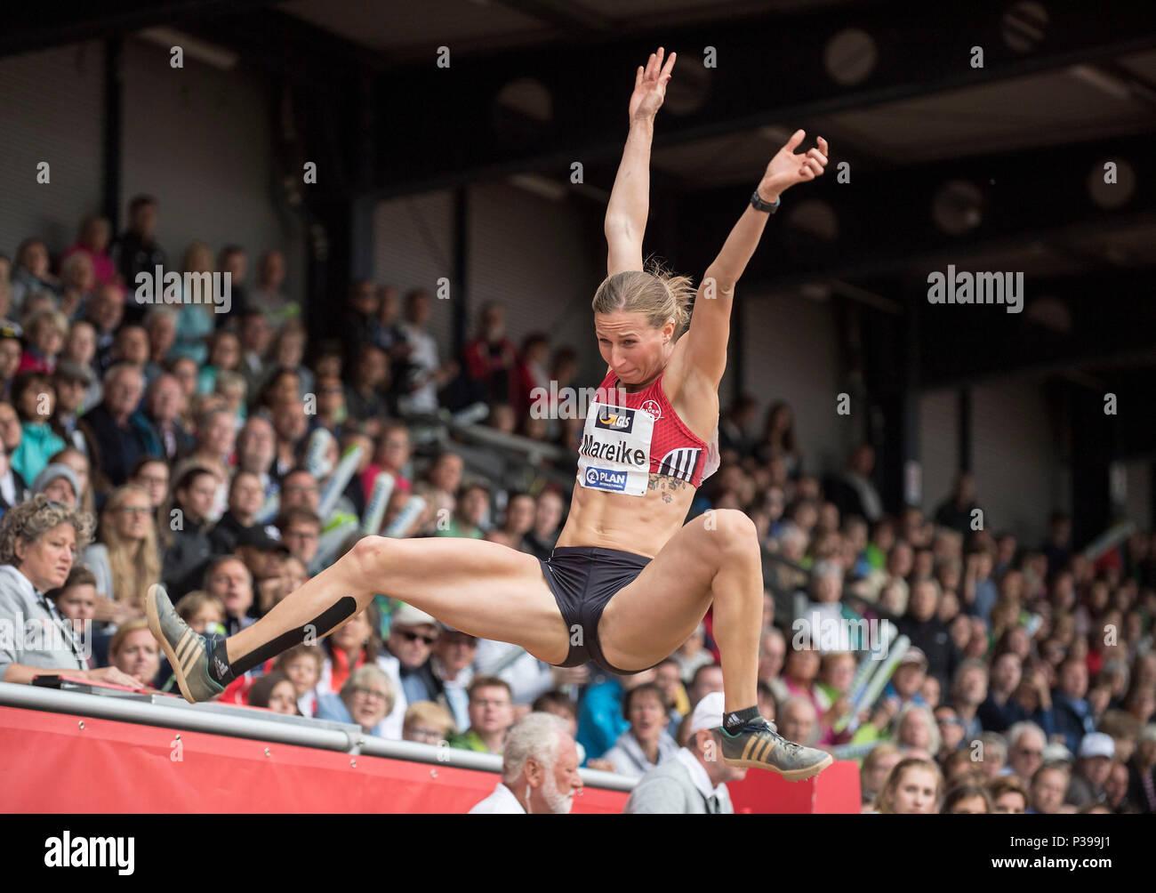 Mareike ARNDT (GER / TSV Bayer 04 Leverkusen), action, women's long jump, on 17.06.2018 Athletics Stadtwerke Ratingen Mehrkampf-Meeting, from 16.06. -17.06.2018 in Ratingen / Germany. | usage worldwide - Stock Image
