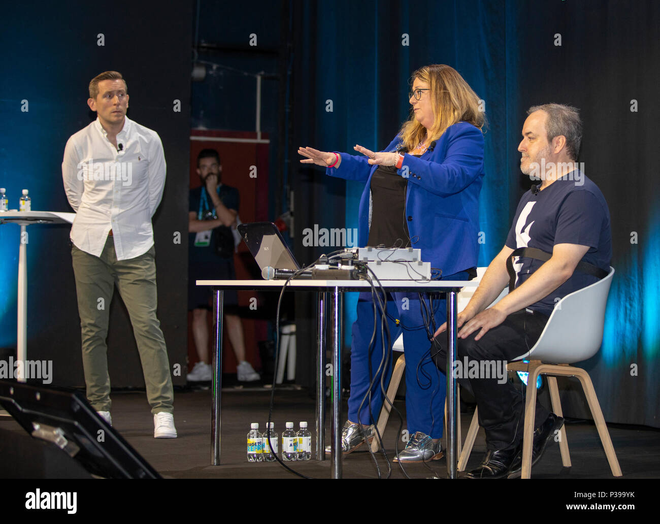 Cannes, France, 18. June 2018, from right David Arnold - The Brain, Multi-award-winning British film and television composer, Sophie Scott The Professor and Ollie Deane - The Suit attend the Cannes Lions - International Festival of Creativity. Credit: Ifnm Press/Alamy Live News - Stock Image