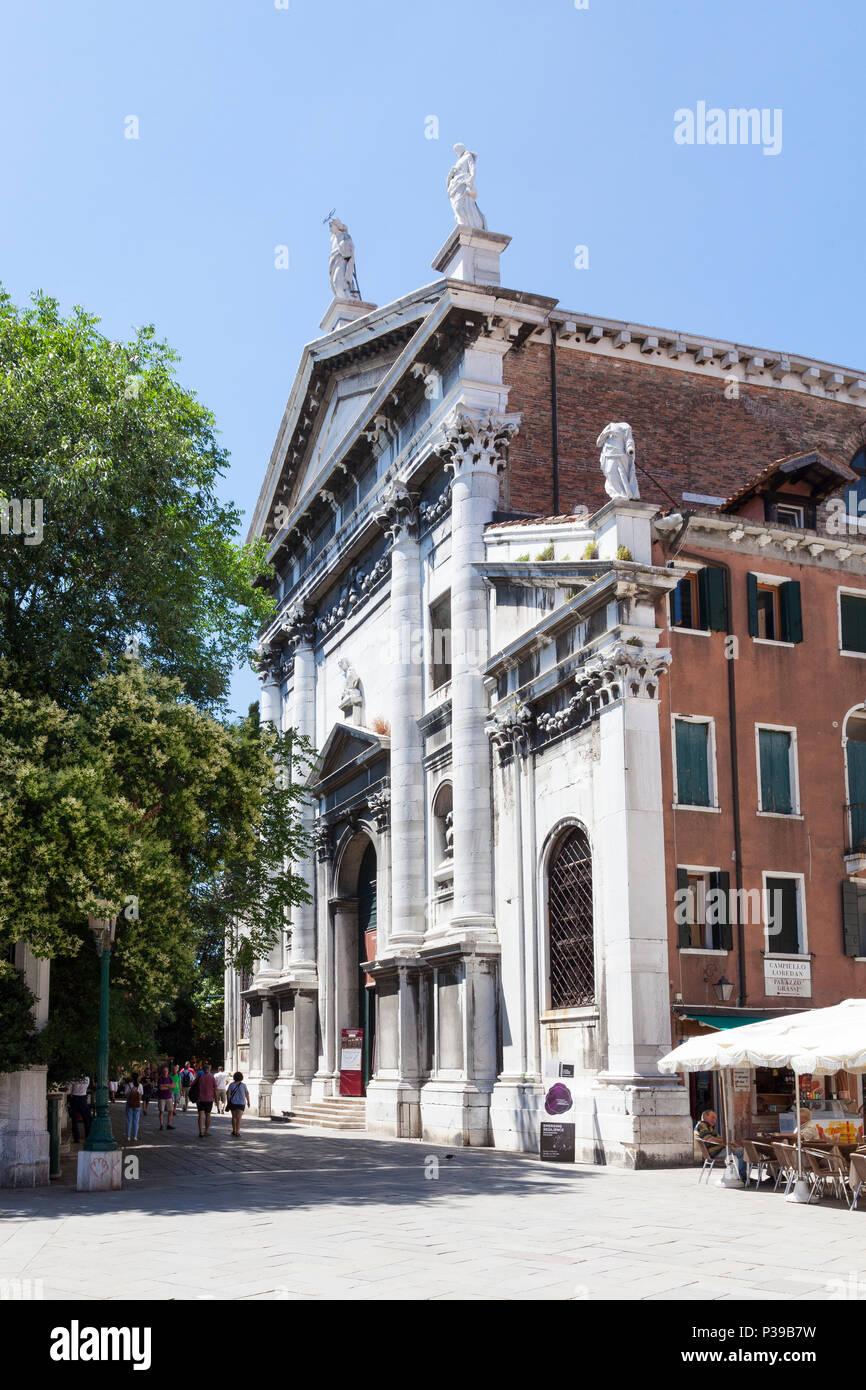 Front facade and entrance of the Chiesa (church) di San Vidal, San Marco, Venice,  Veneto, Italy. Deconsecrated, now a concert hall for Vivaldi music - Stock Image