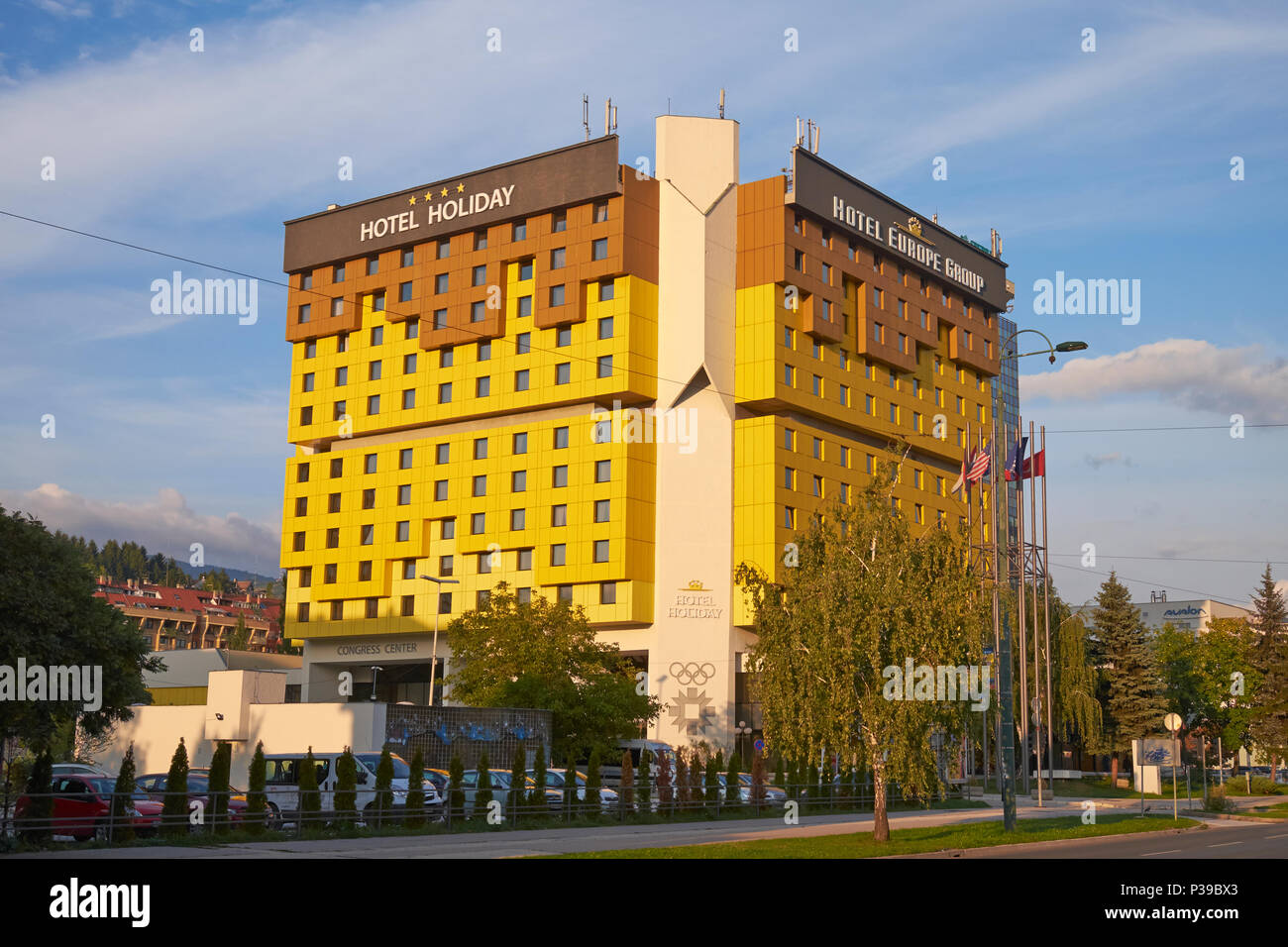 The Hotel Holiday (formerly the Holiday Inn), Sarajevo, Bosnia & Herzegovina was home to foreign correspondents during the siege of Sarajevo 1992-96. - Stock Image