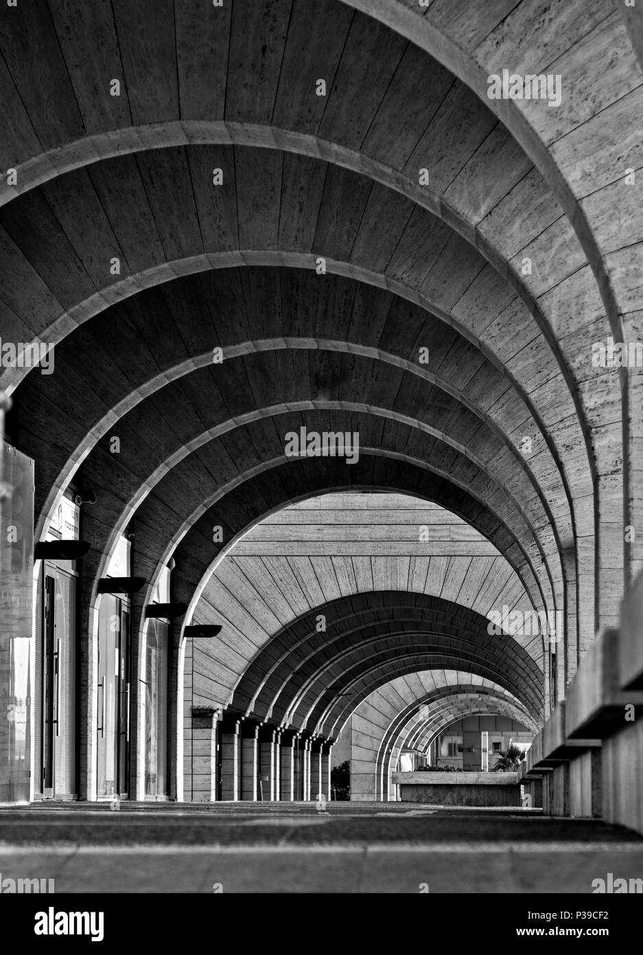 Contemporary architecture archway arcade modern buildingarchitecture photography in black and white