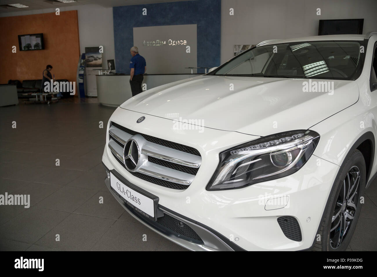Odessa, Ukraine, exhibited Mercedes GLA in the Mercedes salon - Stock Image