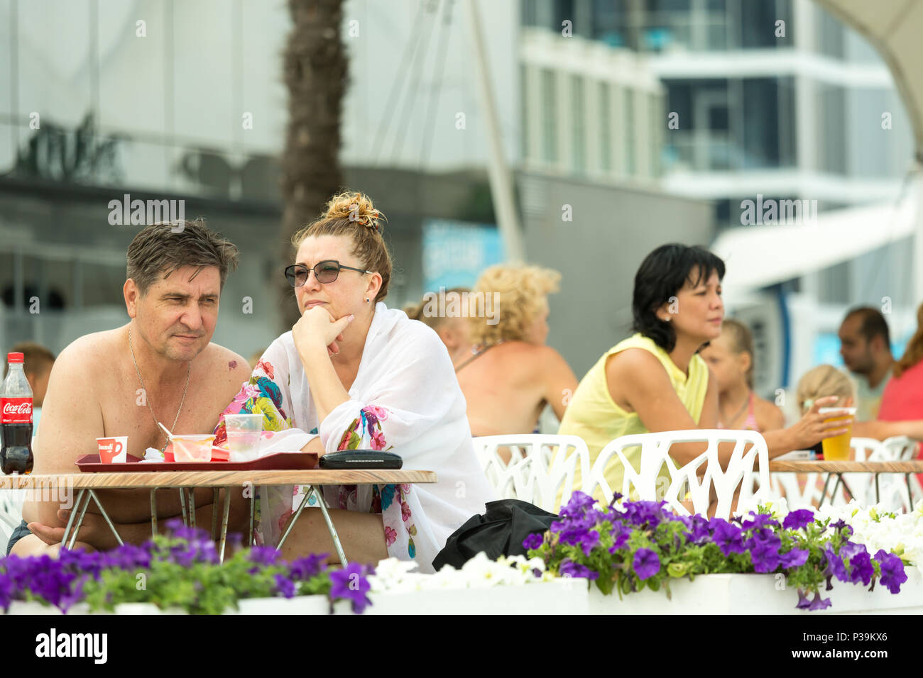Odessa, Ukraine, guests in a street cafe on the Black Sea - Stock Image