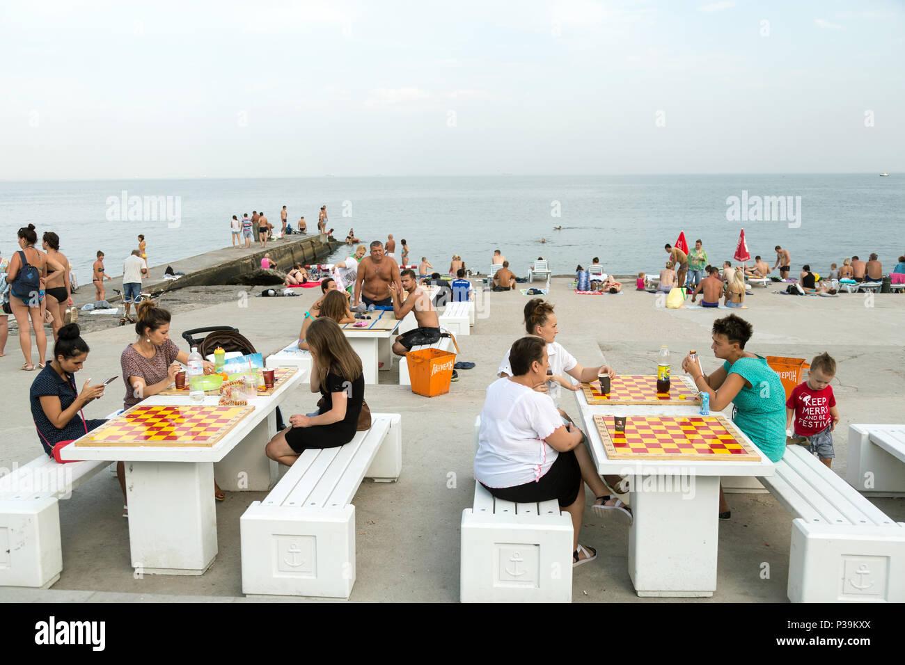 Odessa, Ukraine, bath houses on the Black Sea - Stock Image