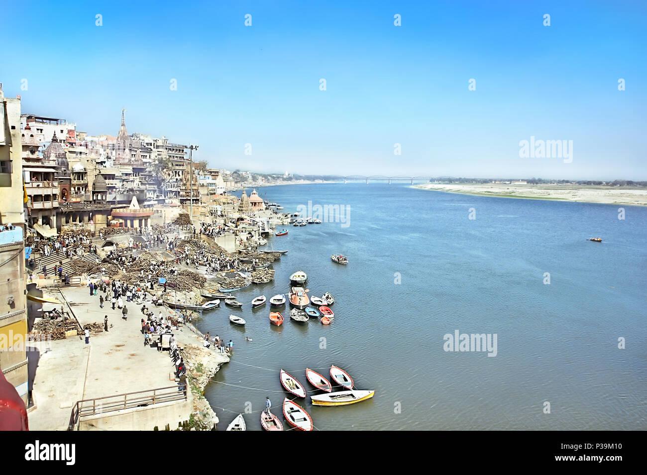 VARANASI, INDIA - 13 FEBRUARY: Cremation ghat , religious ceremony, on the banks of Ganga river, Prayag Ghat in holy Varanasi,  Uttar Pradesh, on  Feb - Stock Image