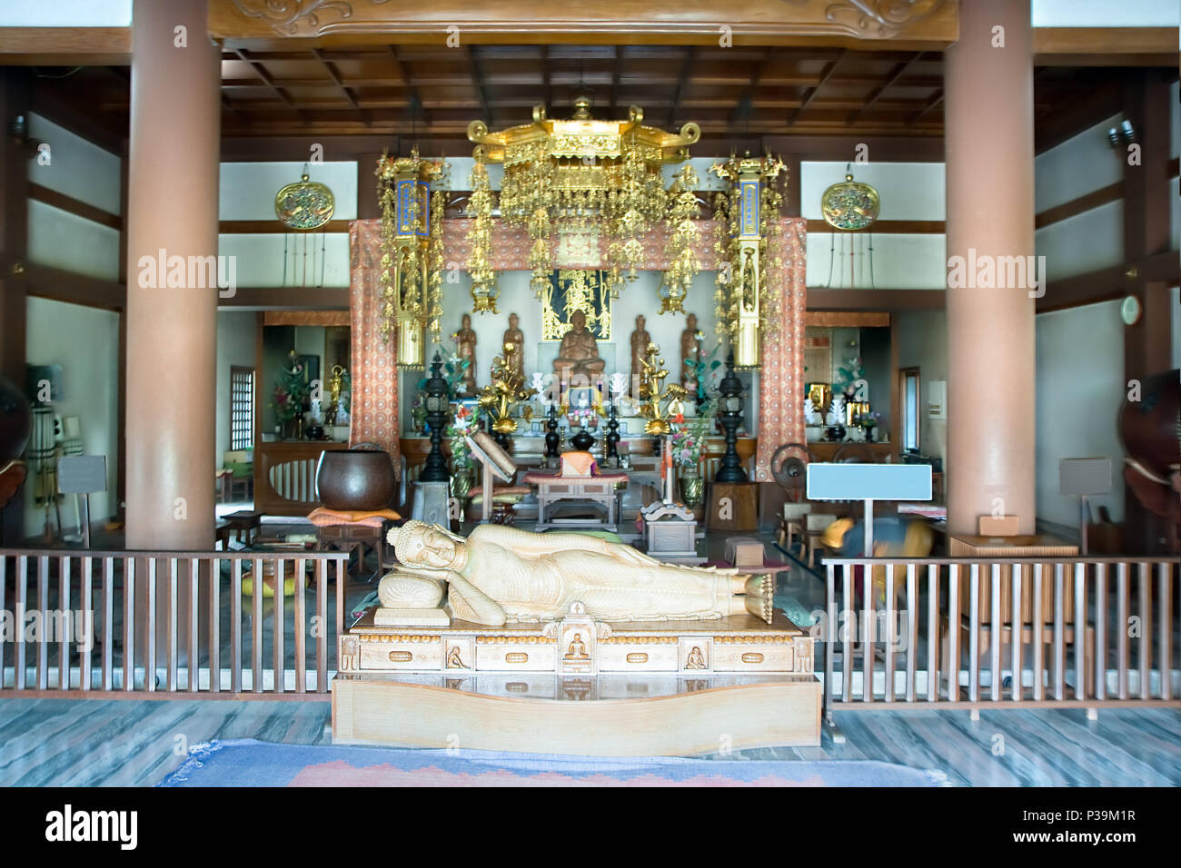 Interior of a Japanese Buddhist temple and monastery
