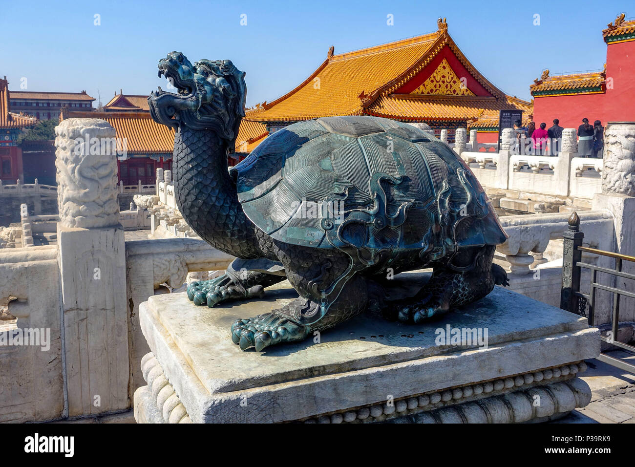 BEIJING, CHINA - MARCH 11, 2016: Forbidden City.  People visit the Forbidden city, it was the Chinese imperial palace from the Ming dynasty to the end - Stock Image