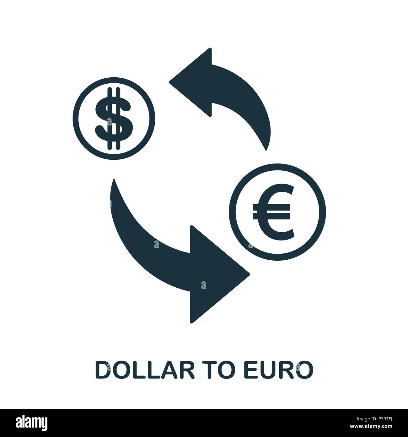 Dollar To Euro icon. Mobile app, printing, web site icon. Simple element sing. Monochrome Dollar To Euro icon illustration. Stock Photo