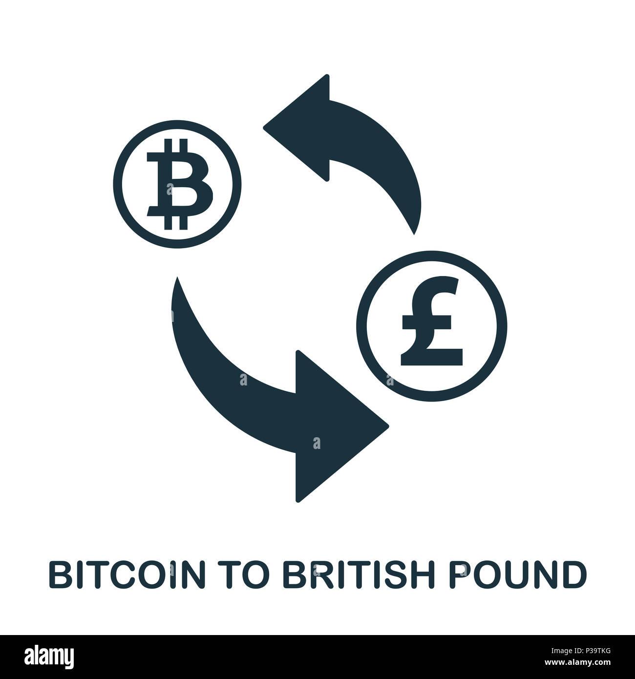 Bitcoin To British Pound icon. Mobile app, printing, web site icon. Simple element sing. Monochrome Bitcoin To British Pound icon illustration. Stock Photo