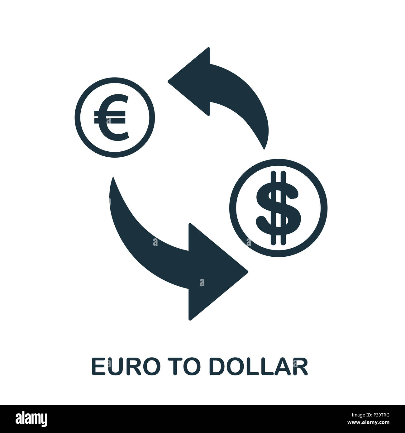 Euro To Dollar icon. Mobile app, printing, web site icon. Simple element sing. Monochrome Euro To Dollar icon illustration. Stock Photo