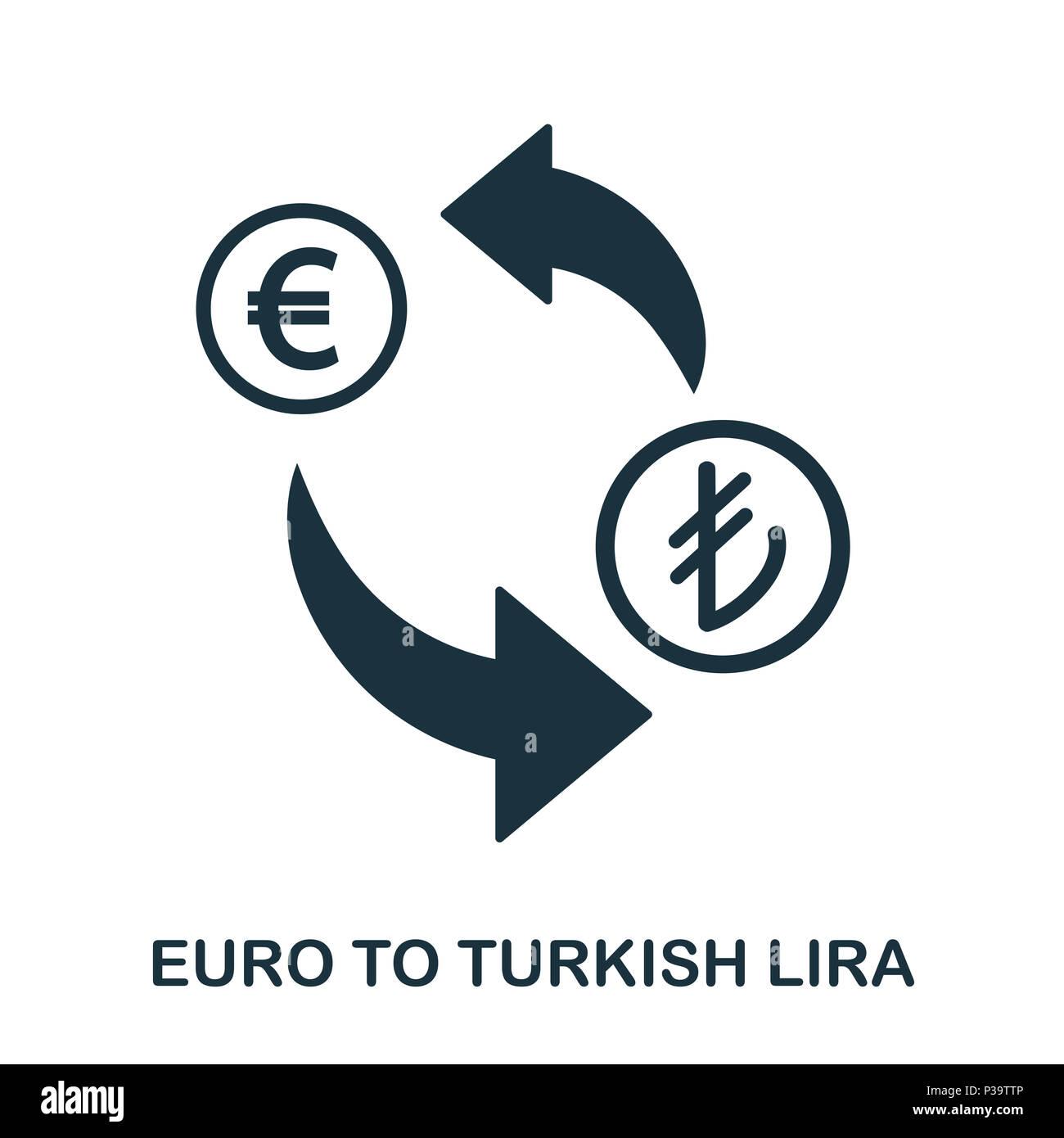 Euro To Turkish Lira icon. Mobile app, printing, web site icon. Simple element sing. Monochrome Euro To Turkish Lira icon illustration. Stock Photo
