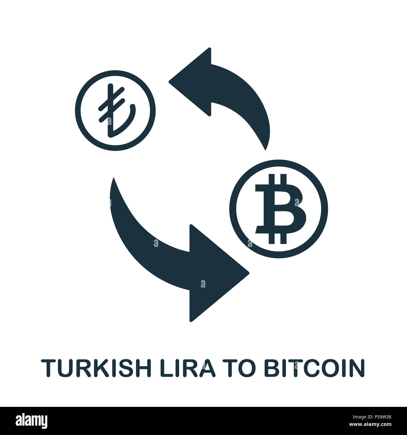 Turkish Lira To Bitcoin icon. Mobile app, printing, web site icon. Simple element sing. Monochrome Turkish Lira To Bitcoin icon illustration. Stock Photo