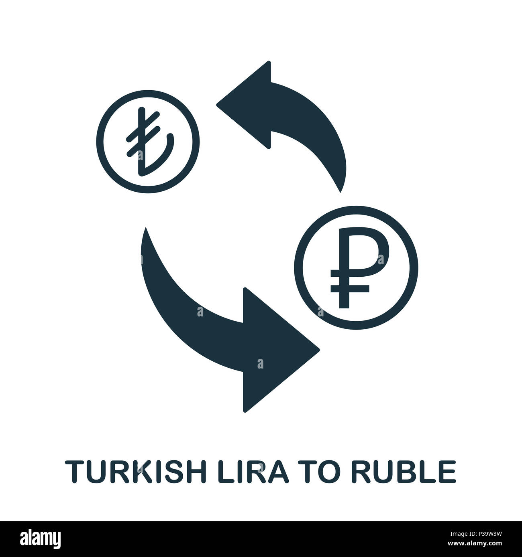 Turkish Lira To Ruble icon. Mobile app, printing, web site icon. Simple element sing. Monochrome Turkish Lira To Ruble icon illustration. Stock Photo