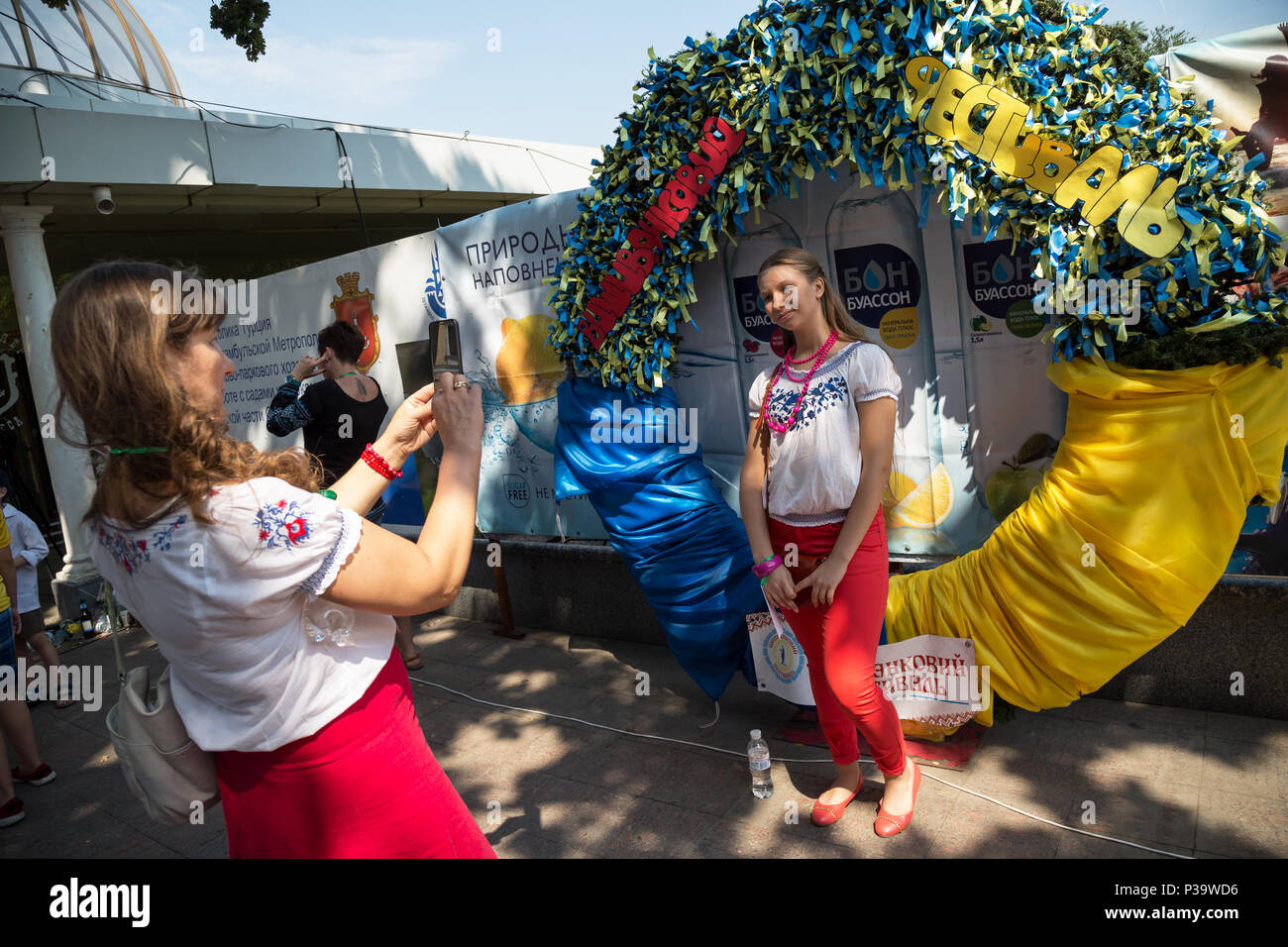 Odessa, Ukraine, girls in Slavic costumes on Prymorskiyyi Boulevard - Stock Image