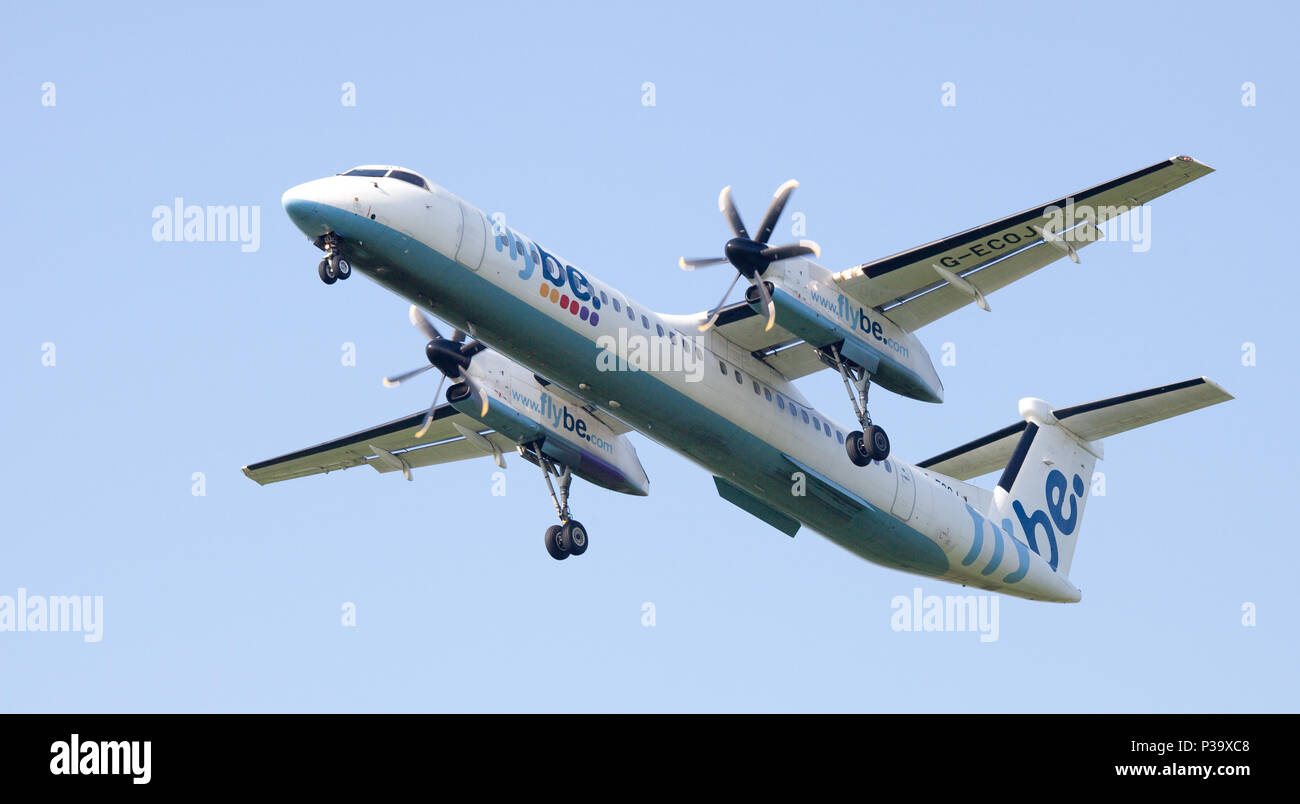 Flybe de-Haviland Canada DHC 8 Dash 8 G-ECOJ coming into land at London Heathrow Airport LHR - Stock Image
