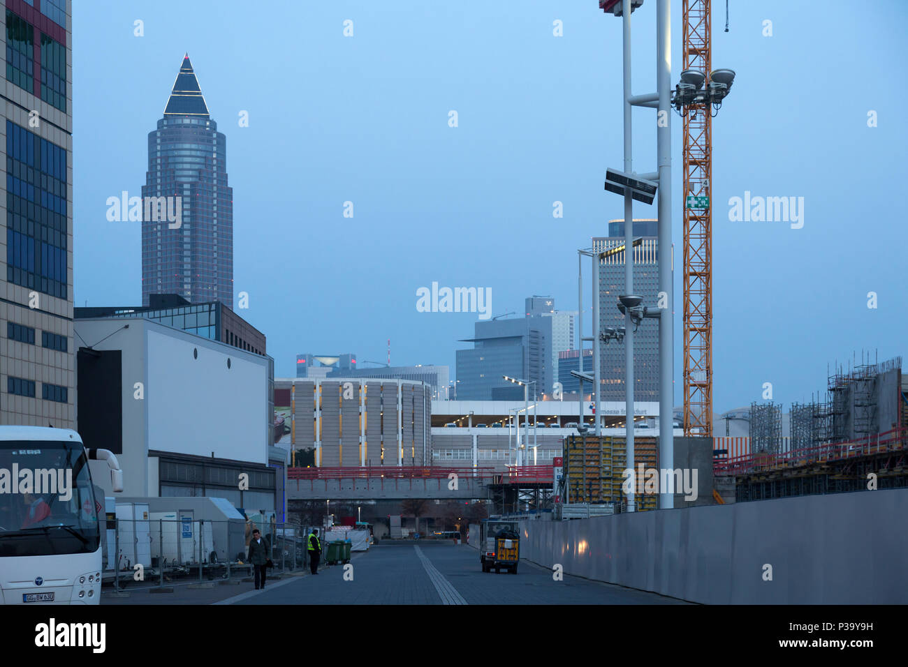 Frankfurt, Germany, view from the Frankfurt Exhibition Center to the Messeturm Stock Photo