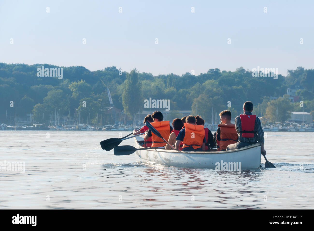 Berlin, Germany, a group on a canoe trip on the Havel - Stock Image