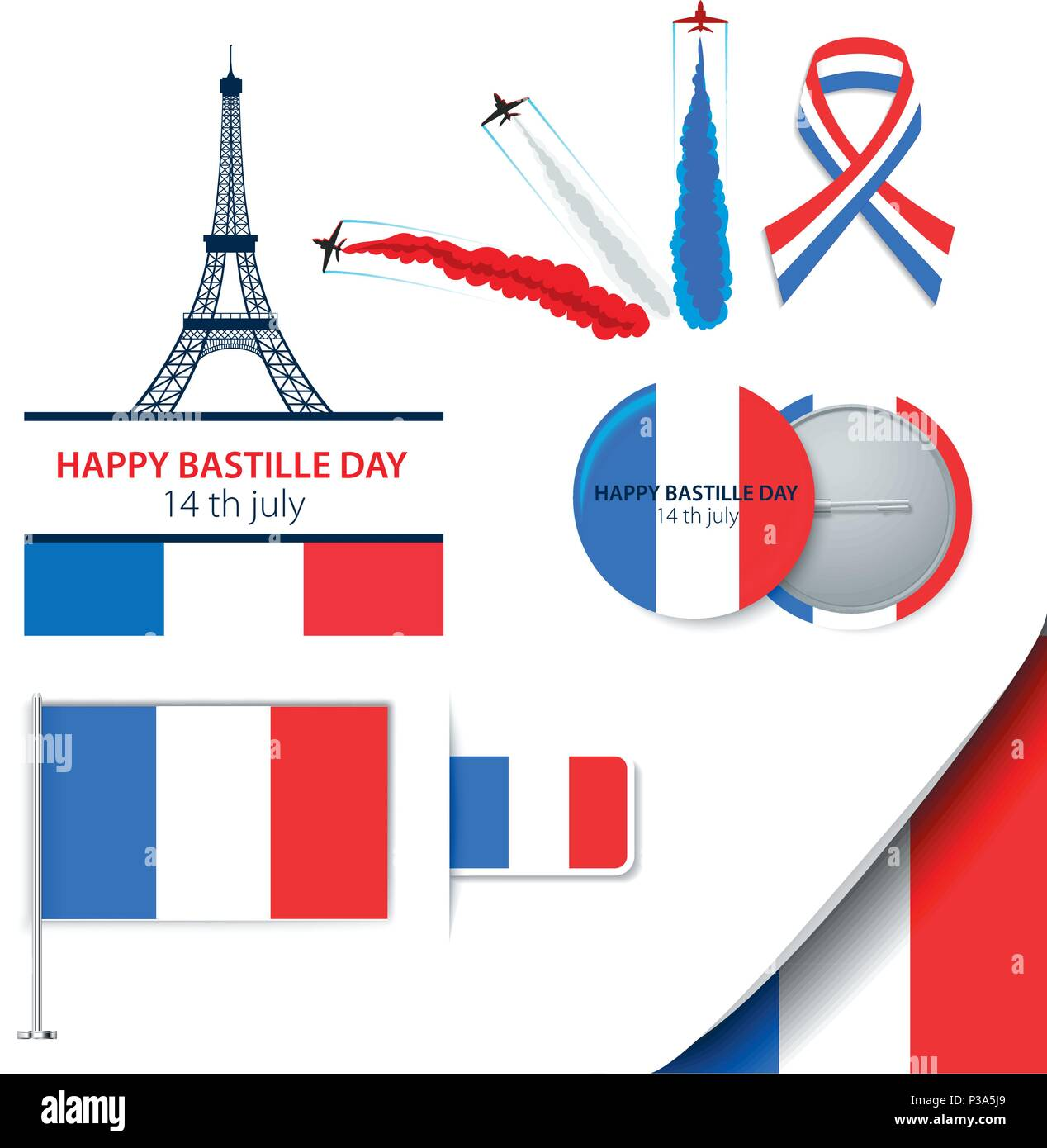 Greeting card design for the bastille day fourteen of july or greeting card design for the bastille day fourteen of july or another french holiday stylish vector modern illustration and design elements m4hsunfo