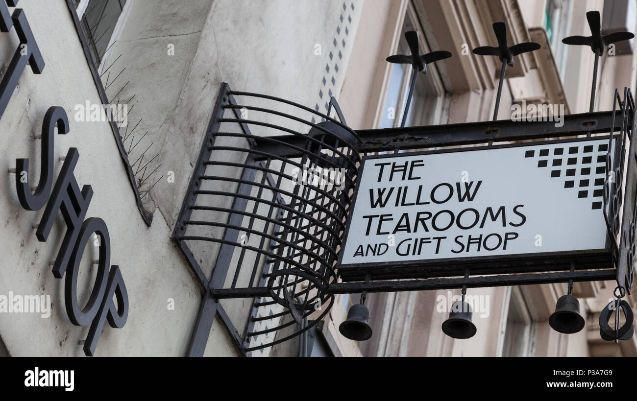 Exterior of the Willow Tea Rooms, Sauchiehall St, designed by renowned architect Charles Rennie Mackintosh for owner Kate Cranston in the early 1900s. Stock Photo