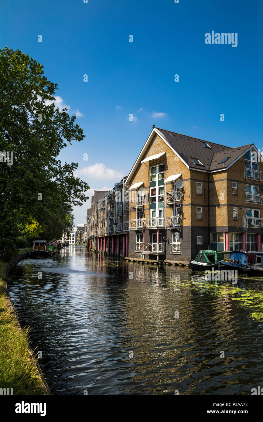 Houses by the Regents Canal, on Hormead Road, near Westbourne Park, London, UK Stock Photo
