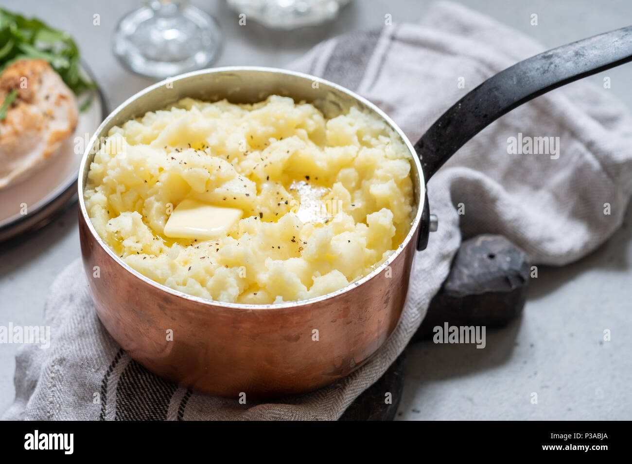 Mashed potato with a butter - Stock Image