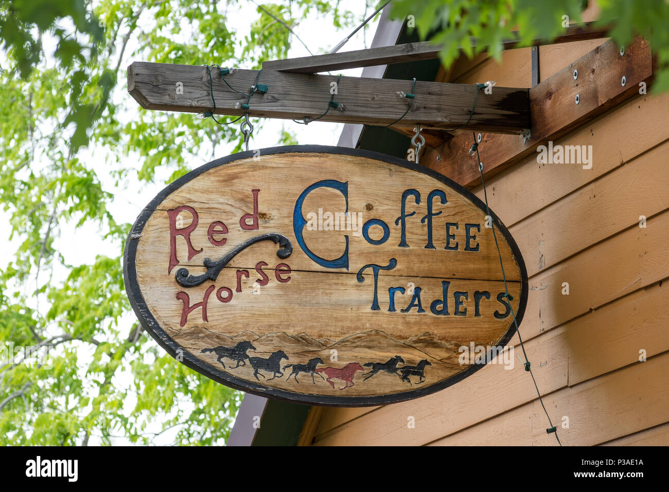 Artistic wood sign outside Red Horse Coffee Traders in Joseph ...