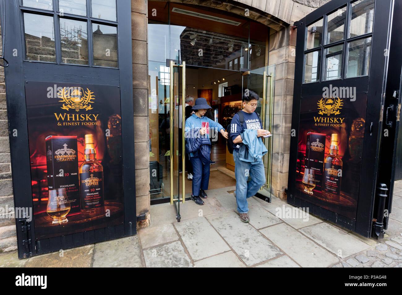 The Scottish Whisky Gift Shop, Edinburgh Castle, Edinburgh, Scotland UK - Stock Image
