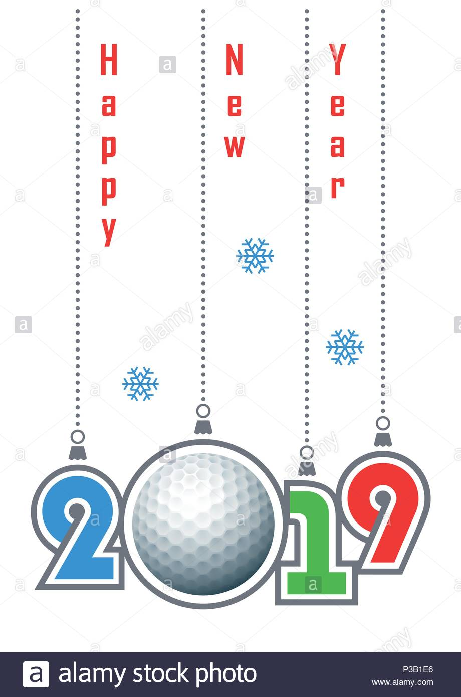 happy new year 2019  sports greeting card with realistic