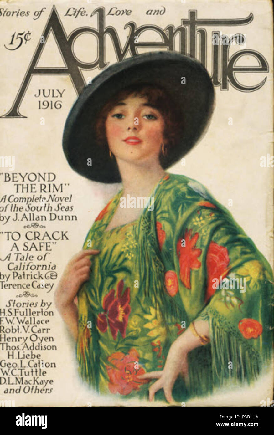 . English: Cover of Adventure, vol. 12 no. 3 (July 1916). July 1916. Unknown 1 Adventure v12 n03 Stock Photo