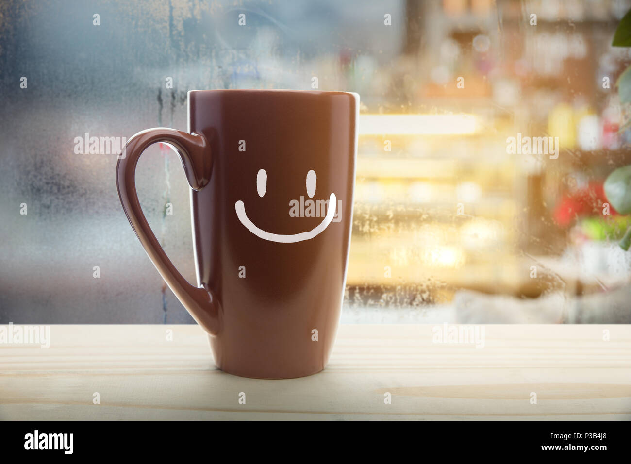 Good Morning Coffee Photos: Brown Mug Of Coffee With A Happy Smile, Steaming Red