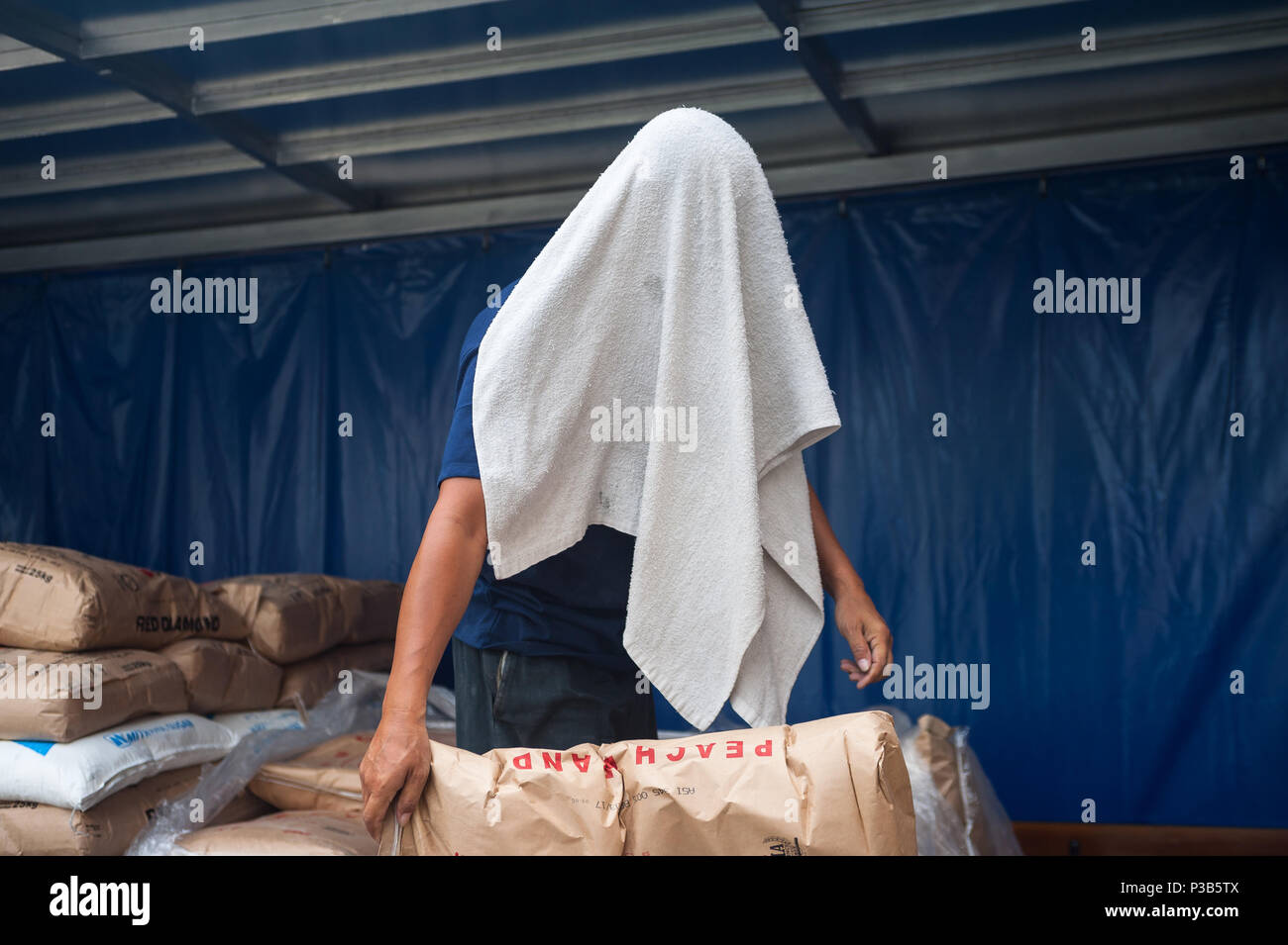 Singapore, Republic of Singapore, workers unload flour sacks from a truck - Stock Image