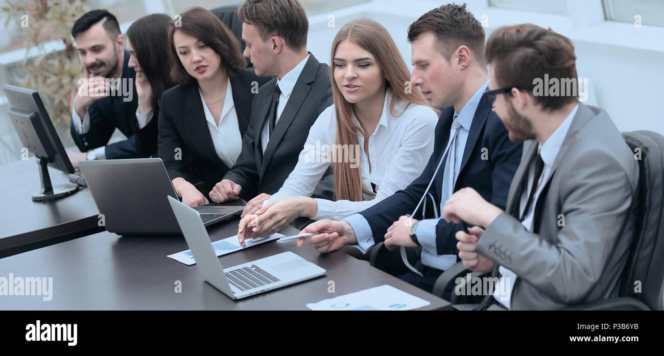 business team in the workplace in the office - Stock Image