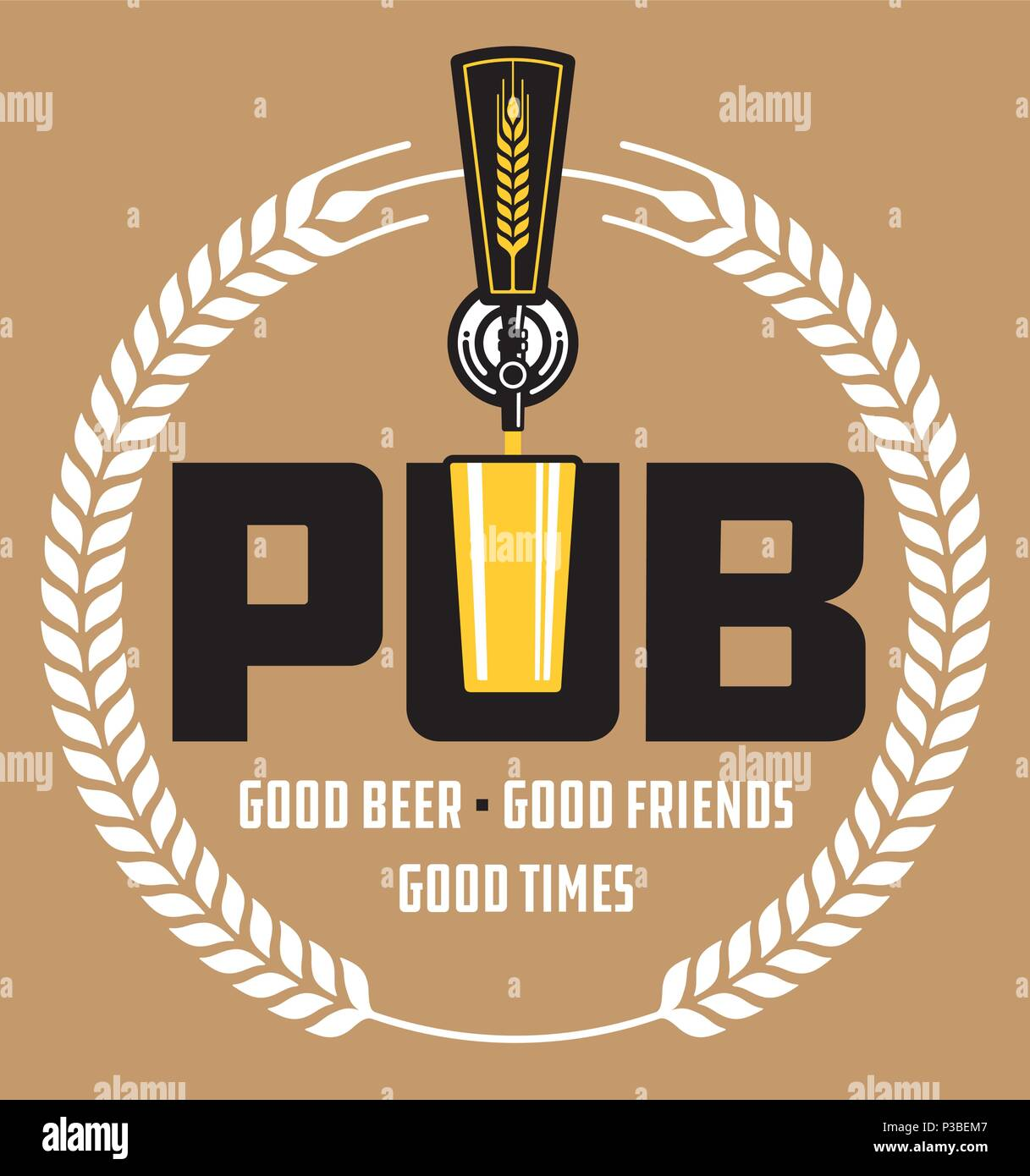 Pub Craft Beer Vector Design. Vector illustration of beer tap and pint glass making pub or brew pub badge. - Stock Vector