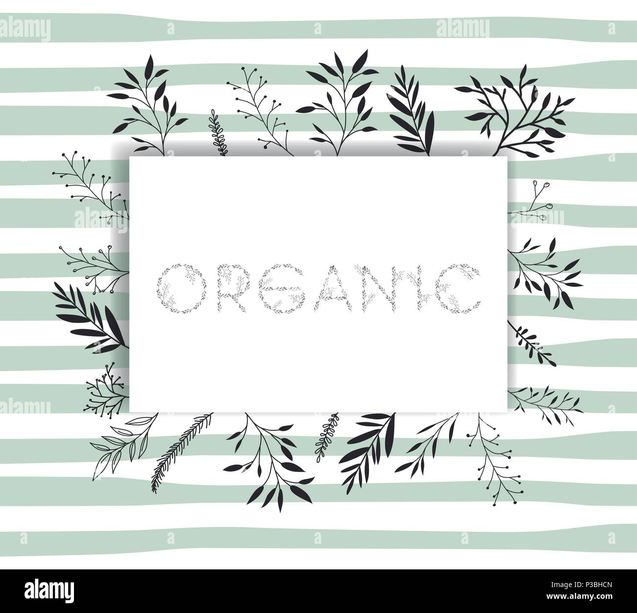 organic word with handmade font and floral decoration - Stock Image
