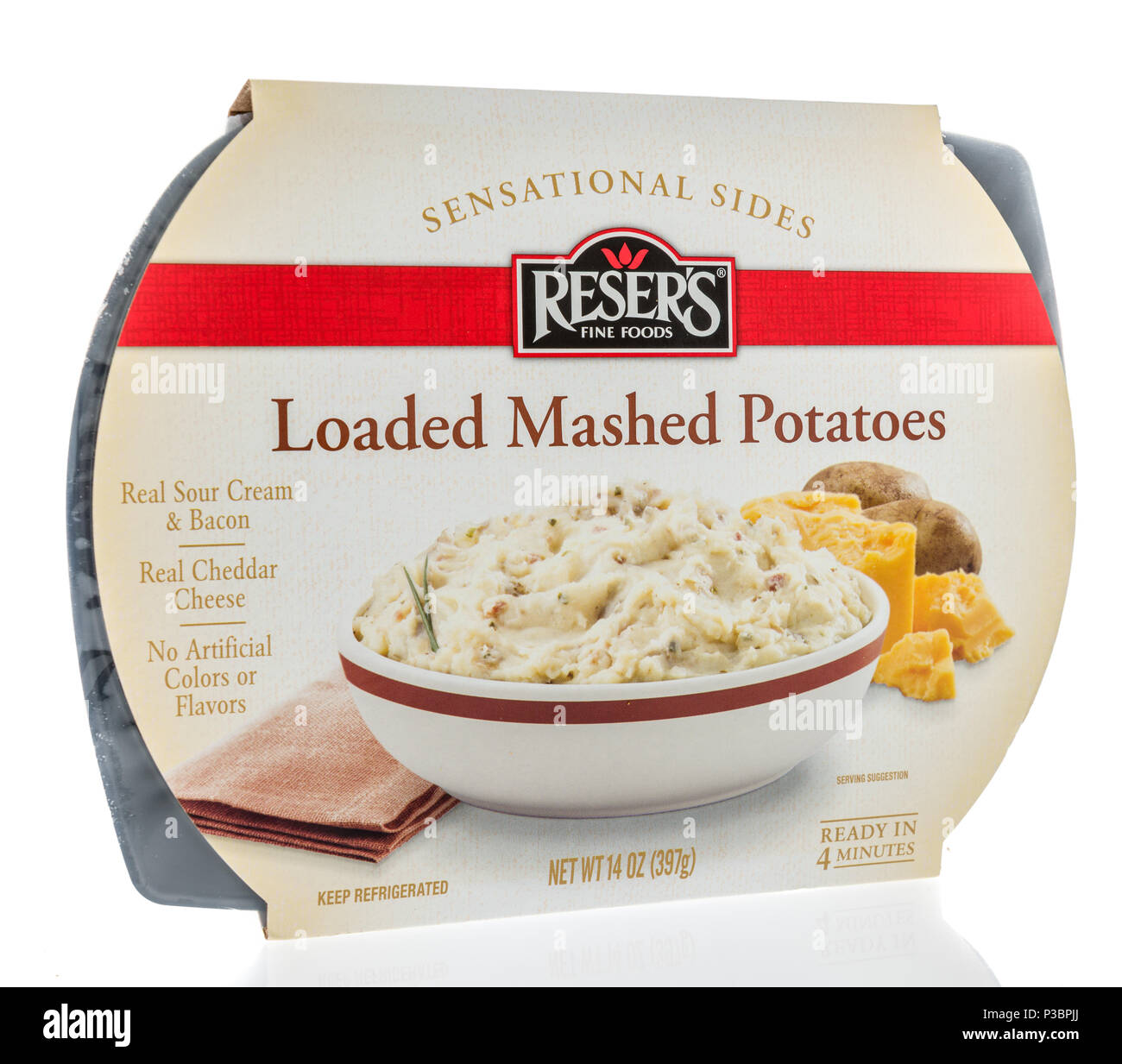 Winneconne - 8 June 2018: A package of Reser's fine foods sensational sides loaded mashed potatoes on an isolated background. - Stock Image