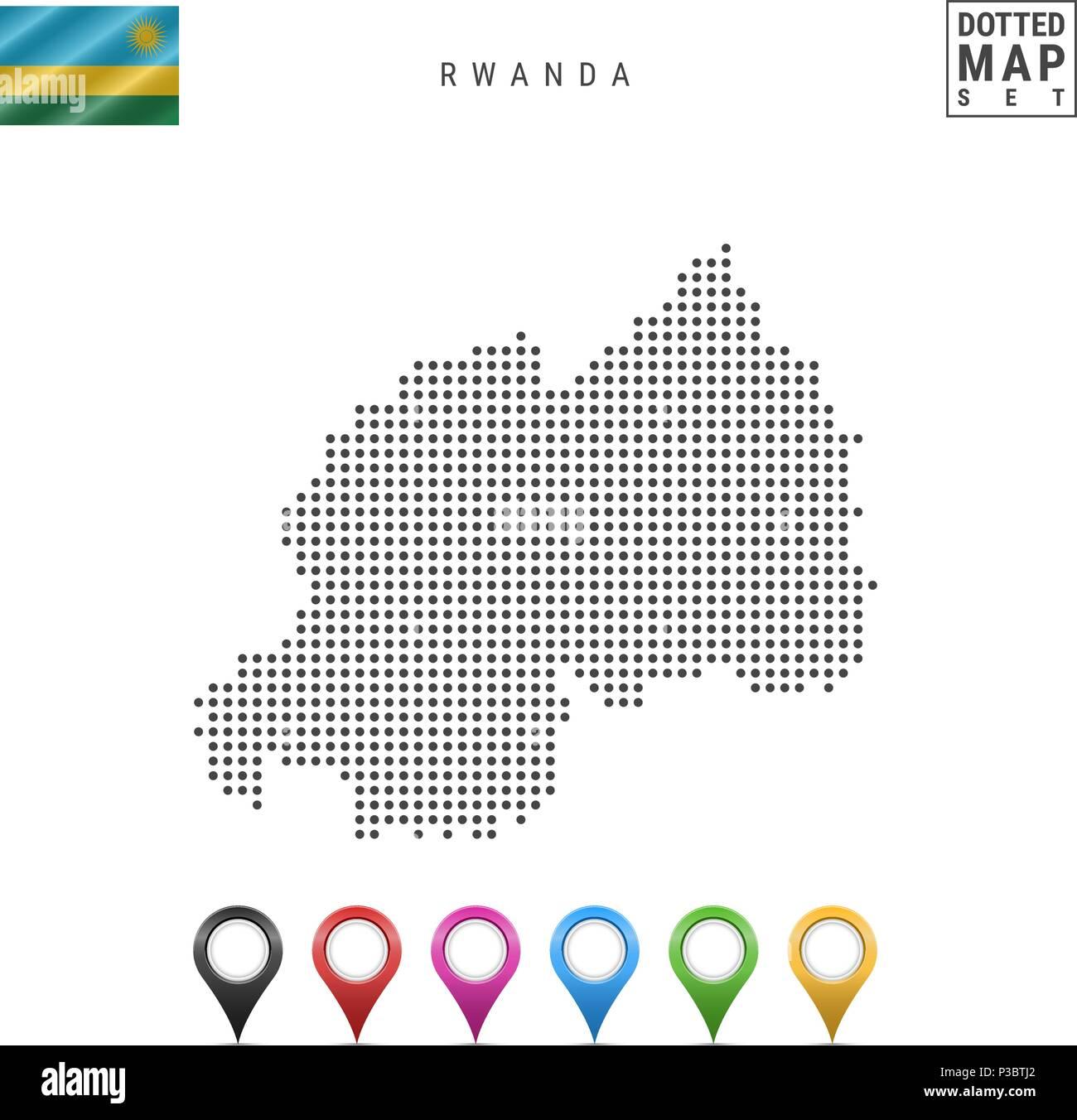 Vector Dotted Map of Rwanda. Simple Silhouette of Rwanda. The National Flag of Rwanda. Set of Multicolored Map Markers - Stock Vector