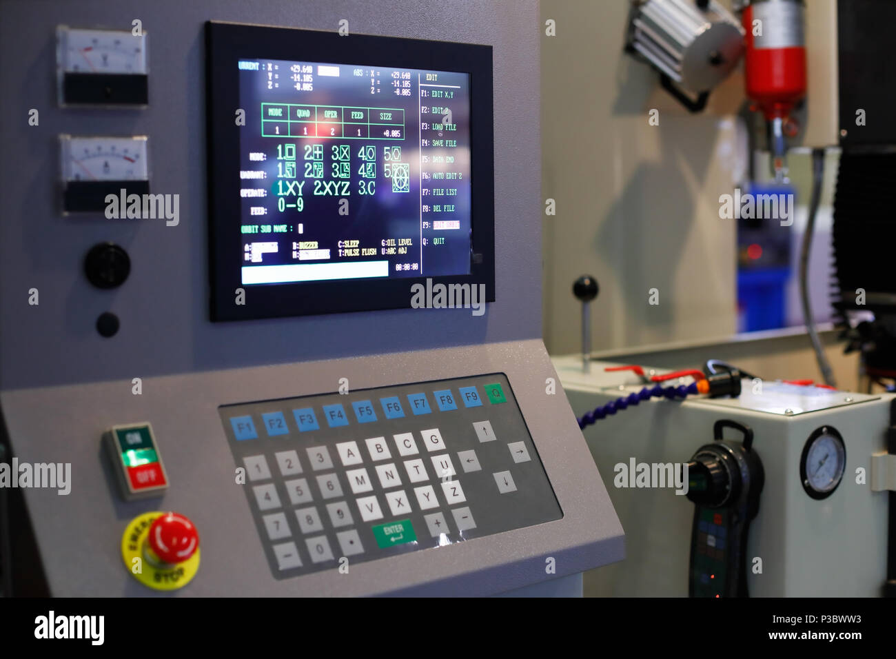 Control panel of industrial CNC equipment. Selective focus. - Stock Image