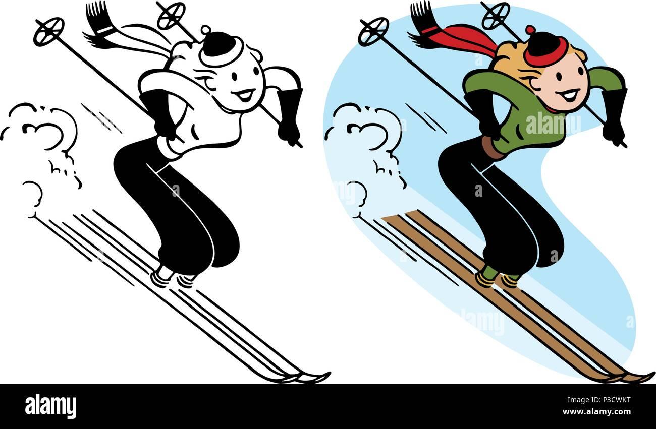 Cartoon Of Woman Skiing Stock Photos & Cartoon Of Woman