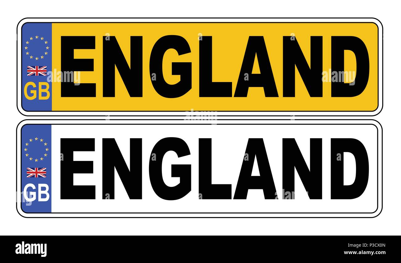 The UK Eu number plate front and rear over a white background with ENGLAND text on both - Stock Vector