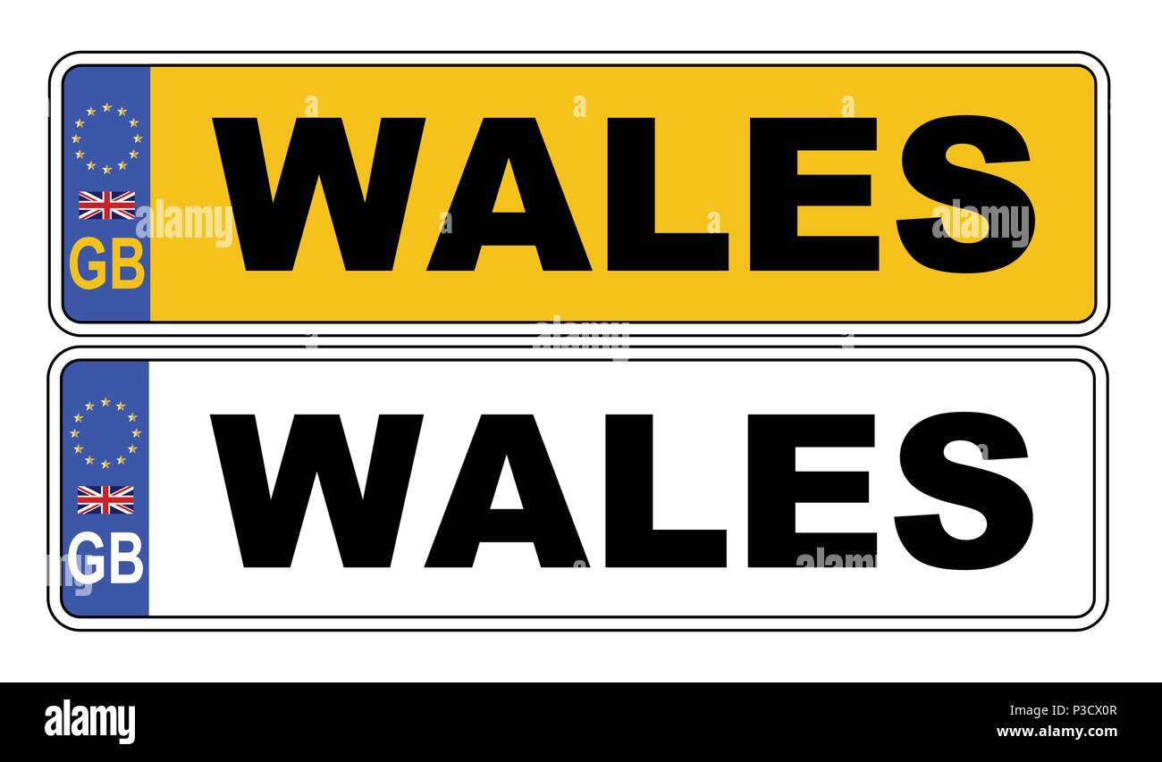 The UK Eu number plate front and rear over a white background with Wales text on both - Stock Vector