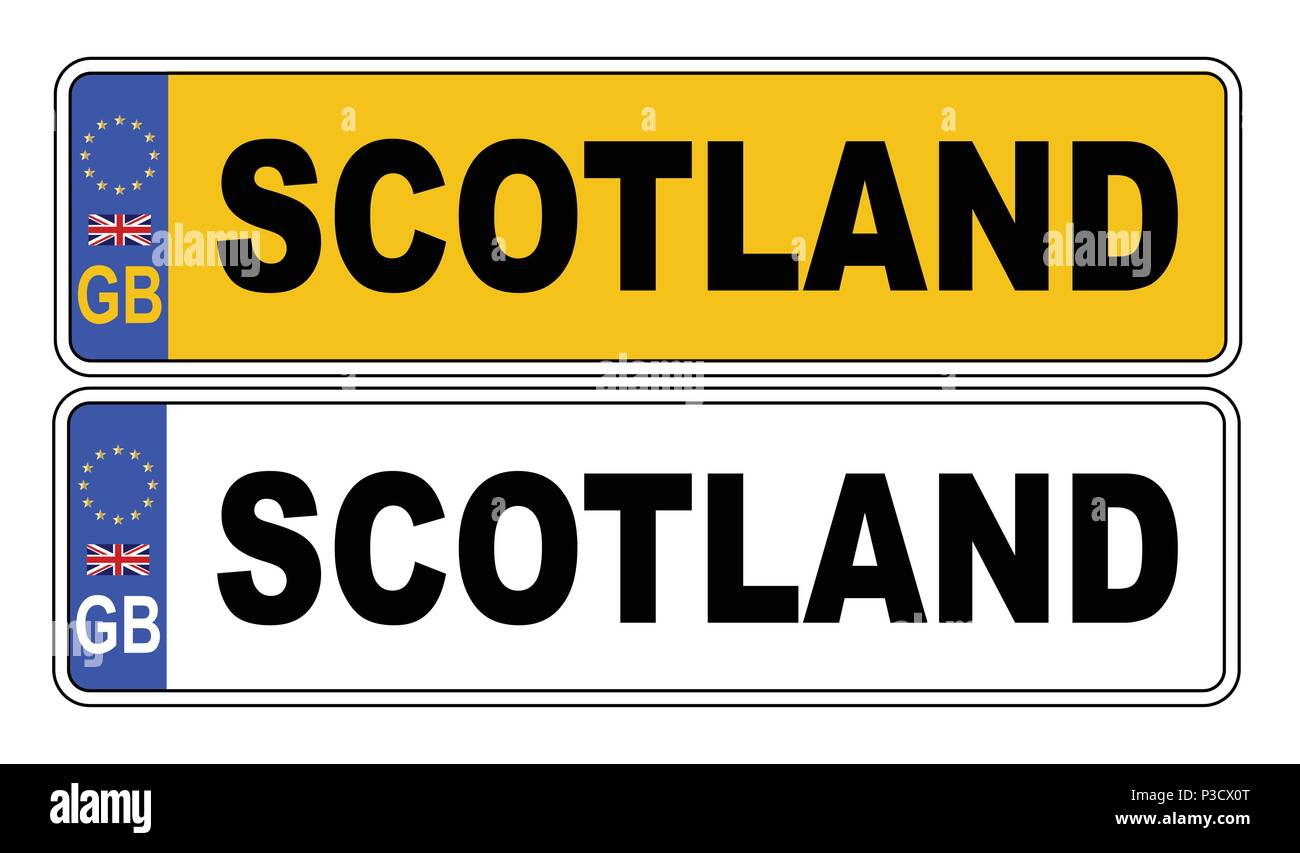 The UK Eu number plate front and rear over a white background with Scotland text on both - Stock Vector
