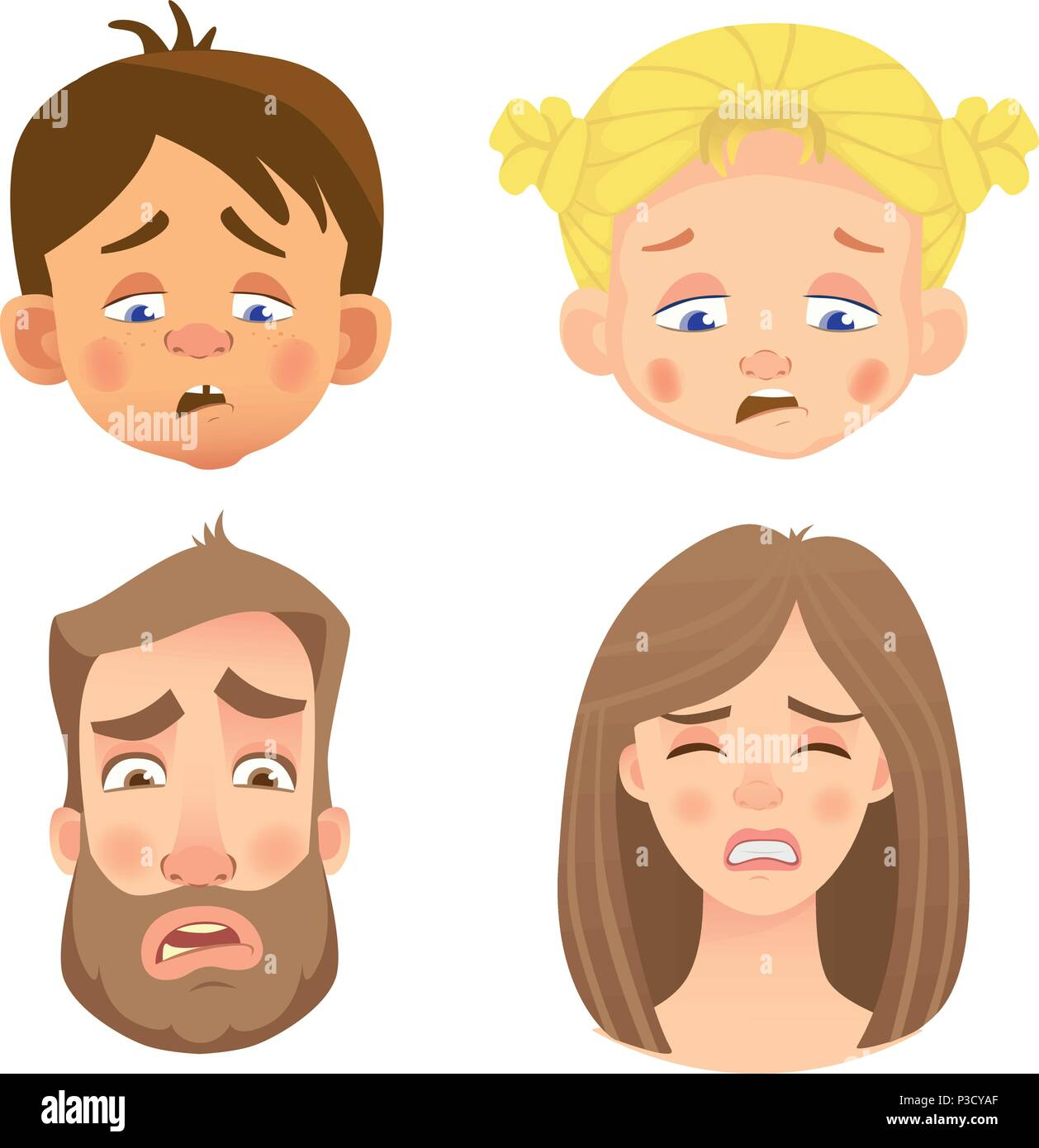 Emotions of human face. Set of human faces expressing emotions. Vector illustration - Stock Vector