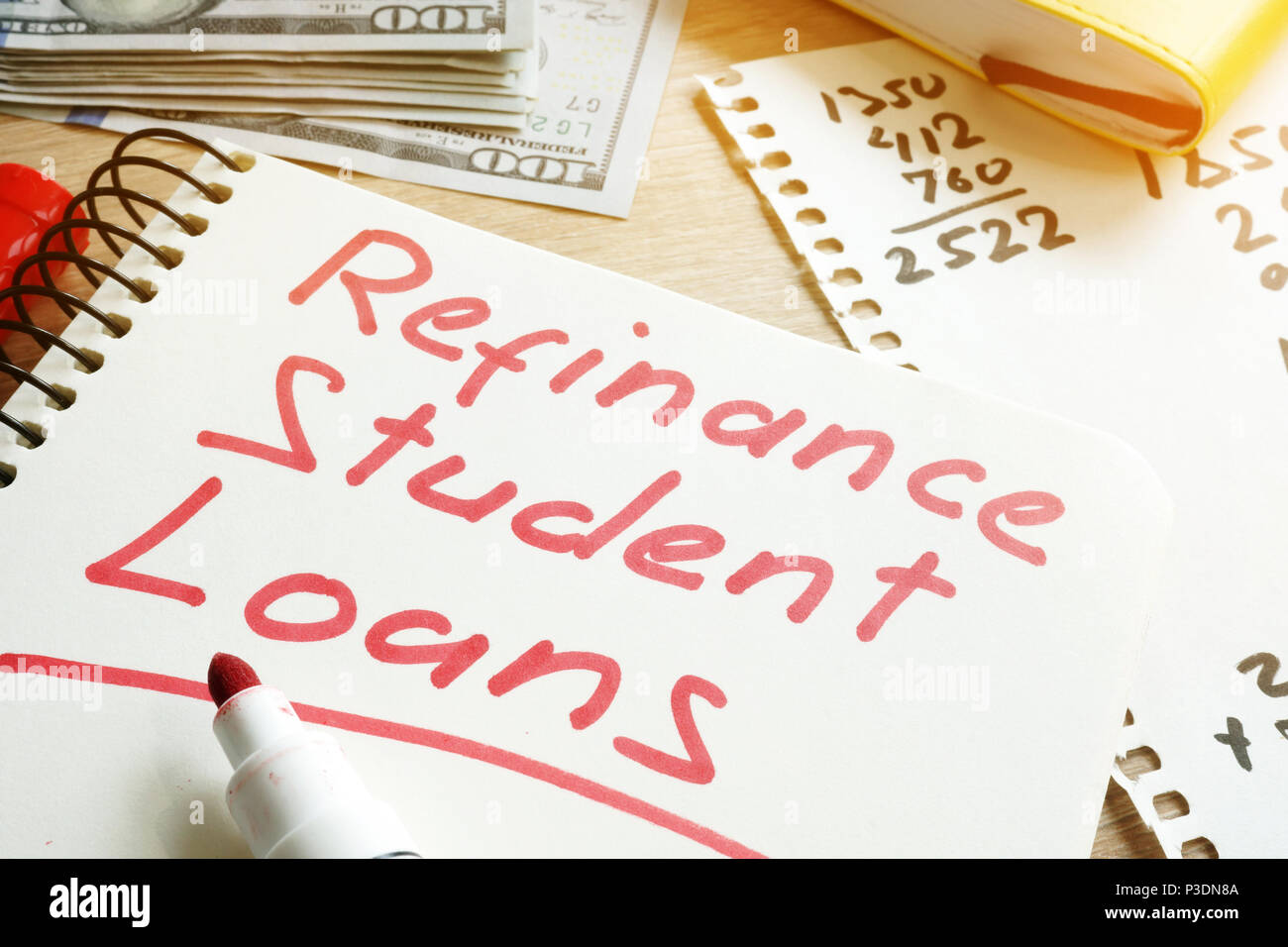 Refinance Student Loans >> Refinance Student Loans Form On A Desk Stock Photo