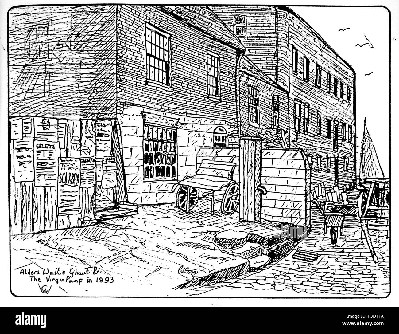 (Copyright waived) An ink sketch drawing  by Colin Waters of Alder's Waste Ghaut, Church Street  and the Virgin Pump, Whitby Yorkshire as it was in 1893 when Harker's Jet Merchant's and Stamp's Coal merchants had premises there. The public pump bore the inscription Antlia pro bono publico.. The hoarding marks the site of the former  Crown and Anchor, public house. The slipway is still in existence in 2018 - Stock Image