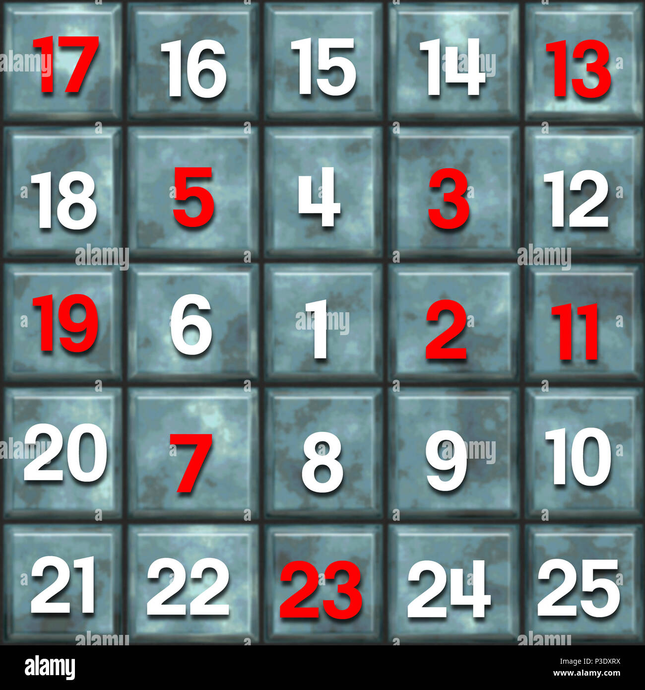 table in spiral sequence of digits with the first 9 prime numbers - Stock Image