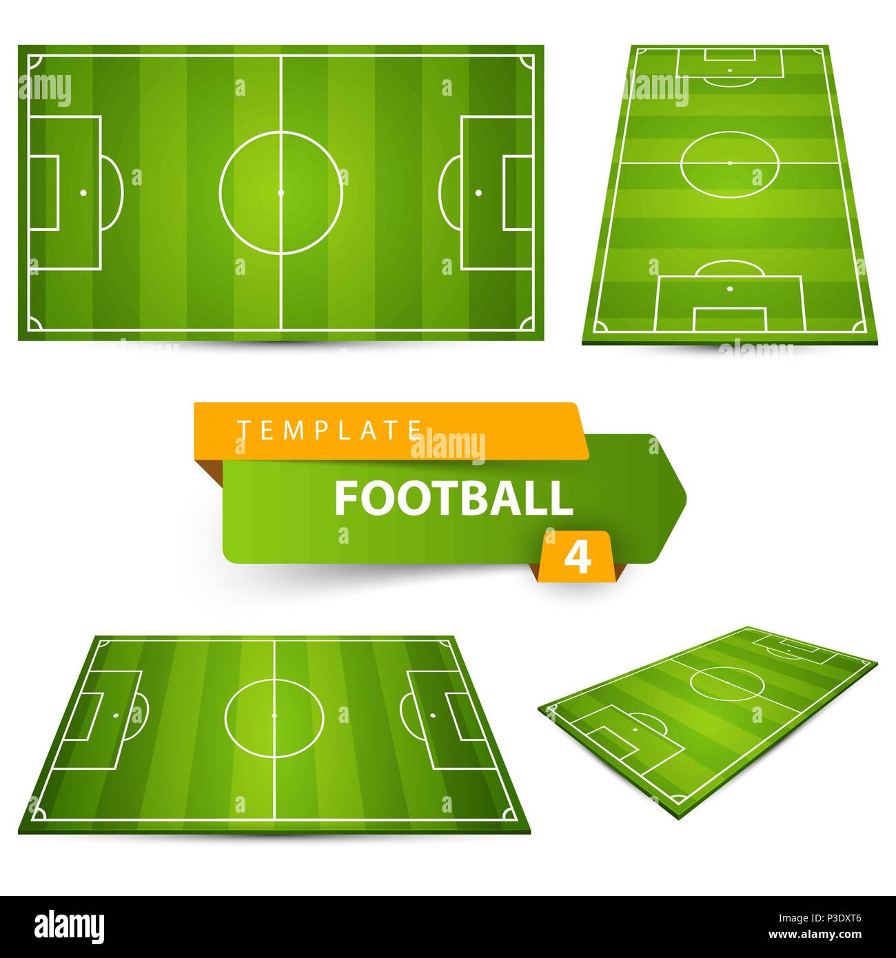 Football, soccer court. Four items. - Stock Image